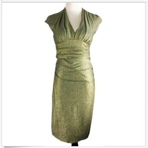 Maggy London Gold Ruched Sheath Cocktail Dress I26